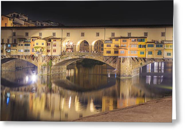 Florence Pyrography Greeting Cards - Old Bridge By Night Greeting Card by Gianluca Pisano