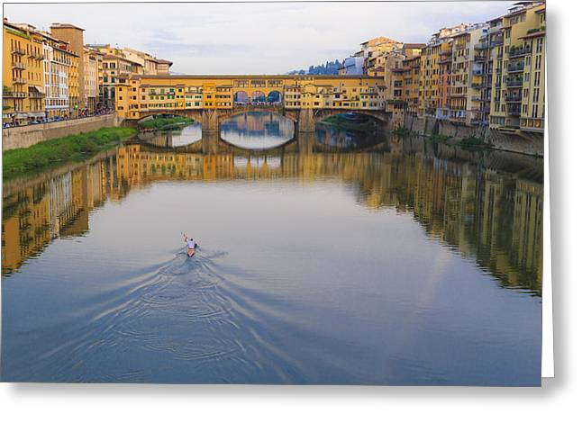 Florence Pyrography Greeting Cards - Old Bridge Greeting Card by Gianluca Pisano