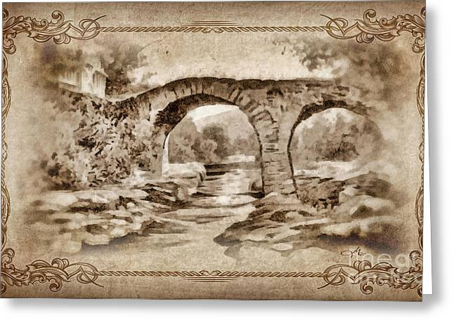 River Scenes Mixed Media Greeting Cards - Old Bridge Greeting Card by Mo T
