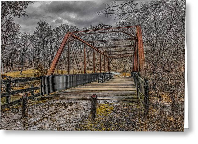 Muscatine Greeting Cards - Old Bridge Greeting Card by Ray Congrove