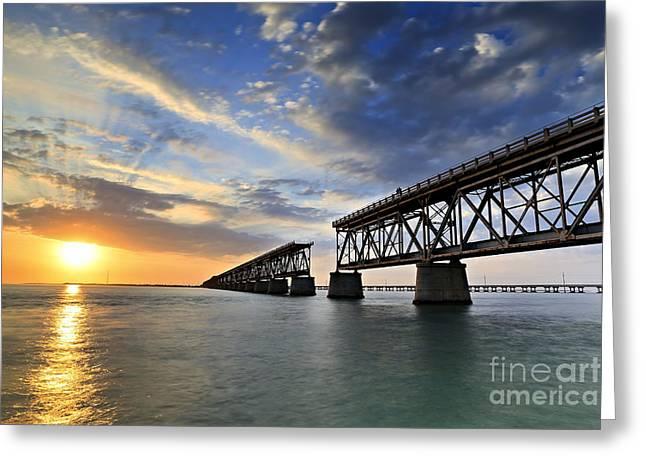 Poster Pyrography Greeting Cards - Old Bridge Sunset Greeting Card by Eyzen M Kim