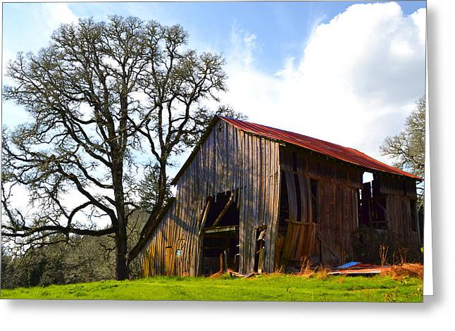 Old Barns Greeting Cards - Old Broken Barn Greeting Card by Marie Fleming