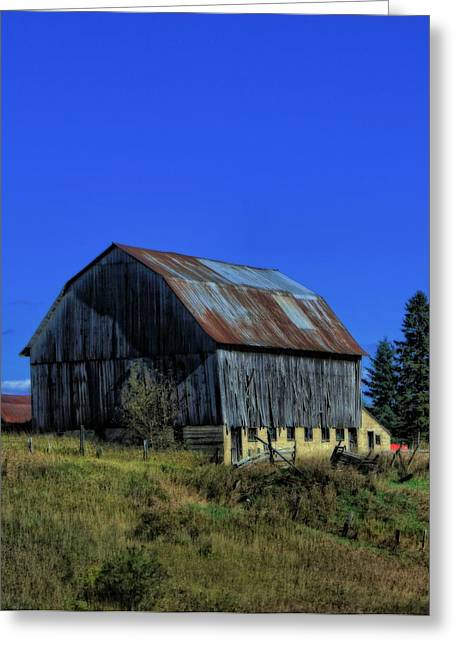 Old Fence Greeting Cards - Old Broken Down Barn In Ohio Greeting Card by Dan Sproul