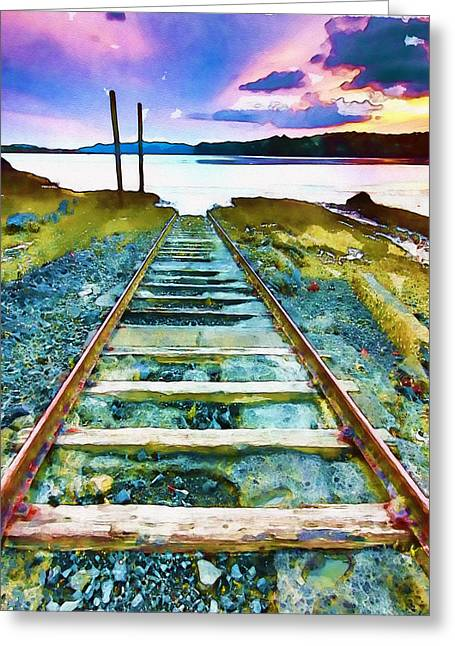 Old Wall Mixed Media Greeting Cards - Old Broken Railway Track watercolor Greeting Card by Marian Voicu