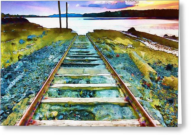 Landscape Posters Mixed Media Greeting Cards - Old Broken Railway Track watercolor Greeting Card by Marian Voicu