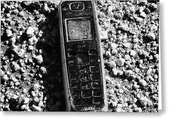 old broken smashed thrown away cheap cordless phone usa Greeting Card by Joe Fox