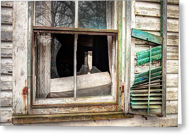 Abandoned Houses Greeting Cards - Old broken window and shutter of an abandoned house Greeting Card by Gary Heller