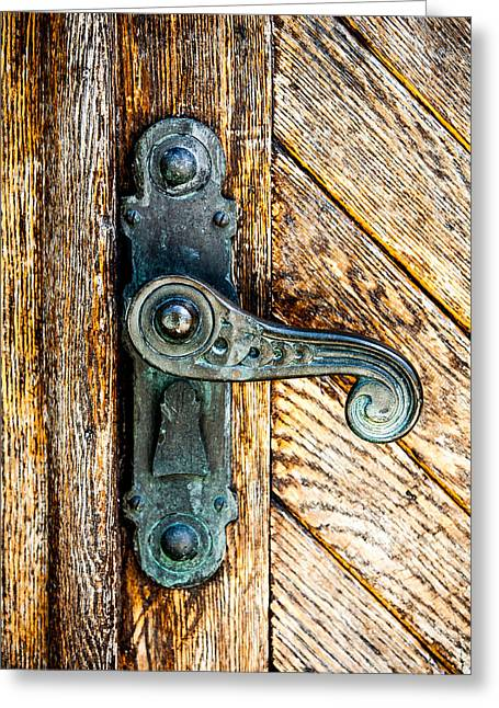 Woodgrain Greeting Cards - Old Bronze Church Door Handle Greeting Card by Hakon Soreide