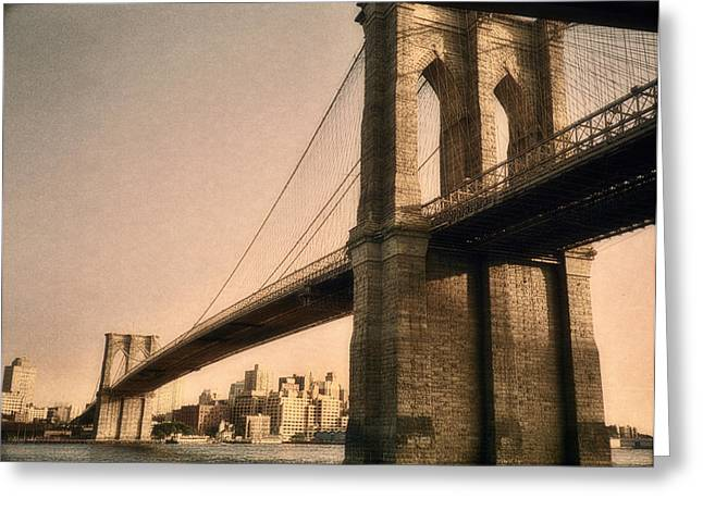 Lower East Side Greeting Cards - Old Brooklyn Bridge Greeting Card by Joann Vitali