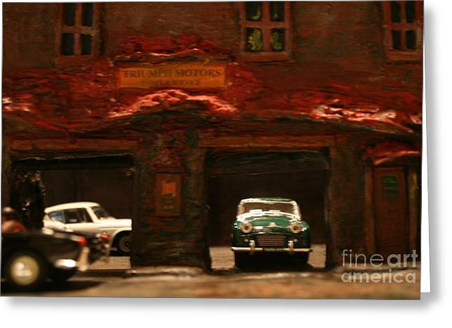 Spitfire Mixed Media Greeting Cards - Old Brooklyn Garage Greeting Card by William Bezik