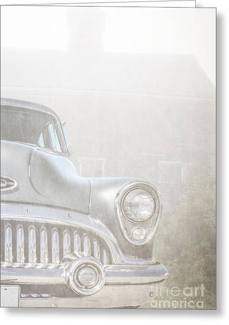 Foggy Greeting Cards - Old Buick Out by the Barn Greeting Card by Edward Fielding