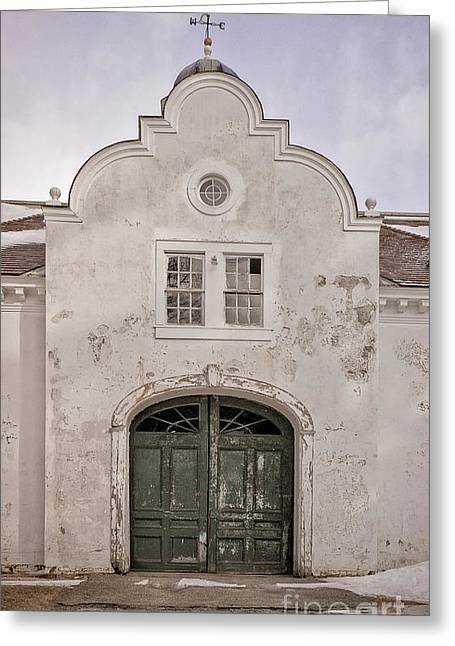 Stucco Greeting Cards - Old building from the guilded age with weathervane Greeting Card by Edward Fielding