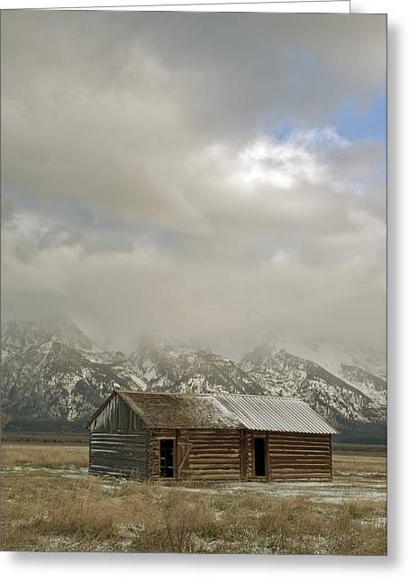 Old Cabins Greeting Cards - Old building in Grand Tetons Greeting Card by Gary Langley