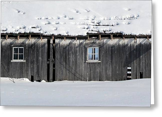 Outbuildings Greeting Cards - Old Building in Snow 4 Greeting Card by Mary Bedy