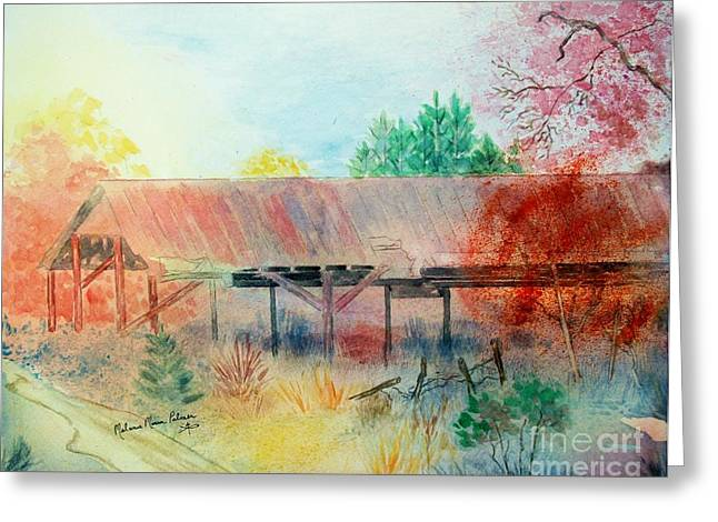 Tin Roof Greeting Cards - Old Building on a Georgia Highway in Autumn Greeting Card by Melanie Palmer