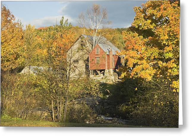 Fall Trees Greeting Cards - OLd Buildings and Fall Colors in Vienna Maine Greeting Card by Keith Webber Jr