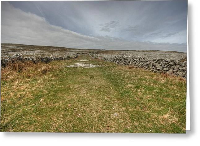 Mountain Road Greeting Cards - Old Burren Road Greeting Card by John Quinn