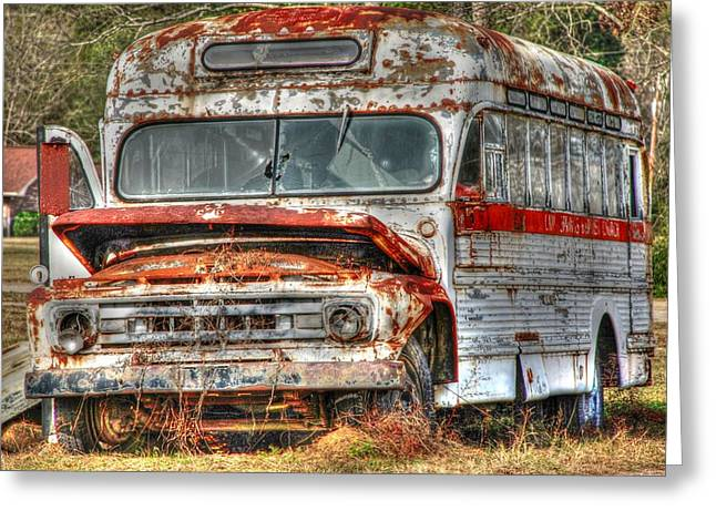 Rural School Bus Greeting Cards - Old Bus 01 Greeting Card by Andy Savelle