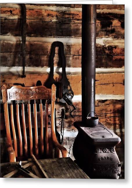 Old Cabins Greeting Cards - Old Cabin And Wood Burning Stove Greeting Card by Dan Sproul