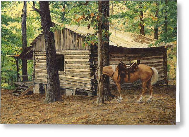 Best Sellers -  - Log Cabins Greeting Cards - Log Cabin - Back View - at Big Creek Greeting Card by Don  Langeneckert