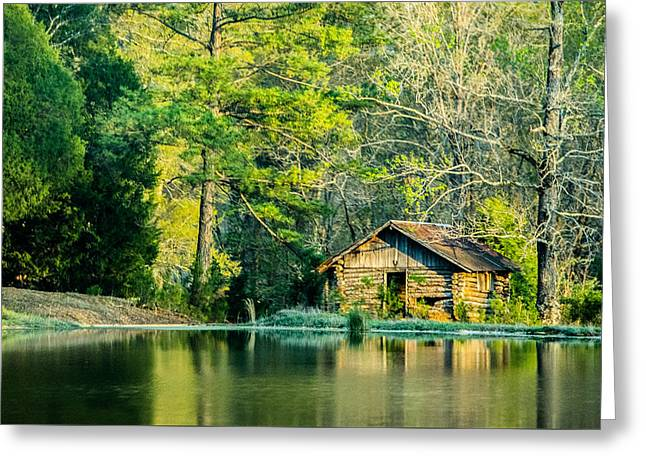 Vintage Log Houses Greeting Cards - Old Cabin By The Pond Greeting Card by Parker Cunningham