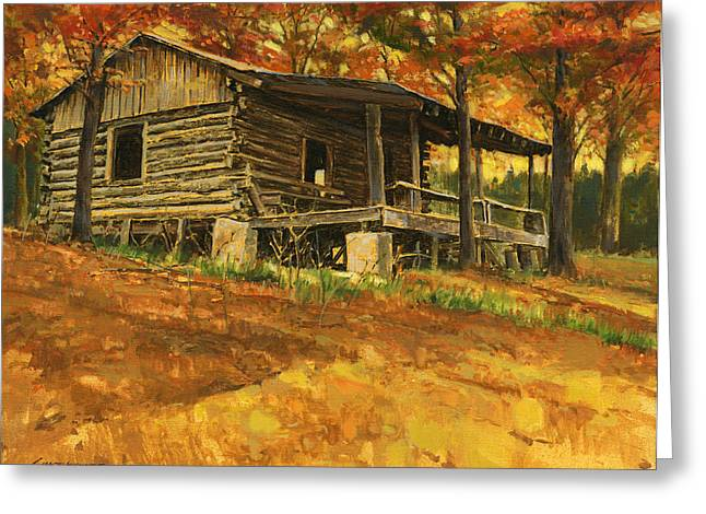 Fall Scene Greeting Cards - Old Cabin in Autumn Greeting Card by Don  Langeneckert
