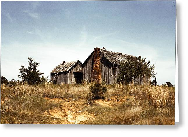 Residential Structure Digital Greeting Cards - Old Cabin Greeting Card by Jeff Tuten