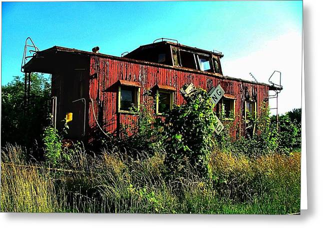 Julie Dant Artography Photographs Greeting Cards - Old Caboose Greeting Card by Julie Dant