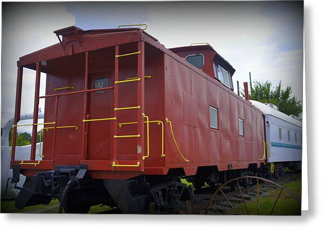Old Roadway Greeting Cards - Old Caboose Greeting Card by Laurie Perry