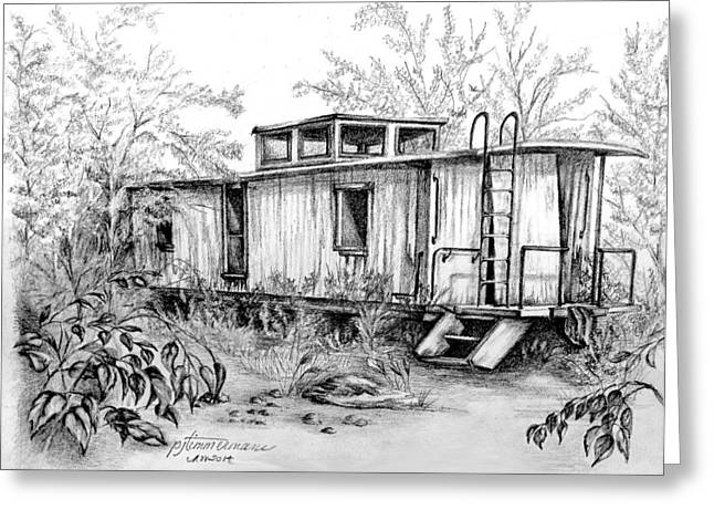 Caboose Drawings Greeting Cards - Old caboose Greeting Card by PJ Timmermans