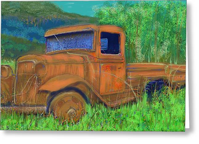 British Columbia Drawings Greeting Cards - Old Canadian Truck Greeting Card by Hidden  Mountain