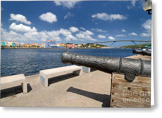 1779 Greeting Cards - Old Cannon and Queen Juliana Bridge Curacao Greeting Card by Amy Cicconi