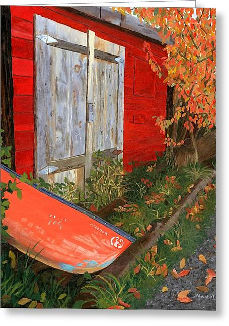 Canoe Paintings Greeting Cards - Old Canoe Greeting Card by Lynne Reichhart