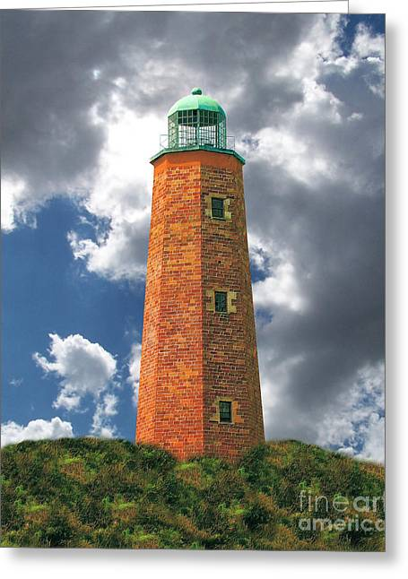 Best Sellers -  - Becky Greeting Cards - Old Cape Henry Lighthouse Fort Story Virginia Beach VA Greeting Card by Becky Hayes