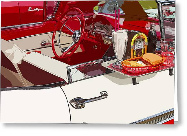 Hamburger Greeting Cards - Old Car at Drive In Restaurant Greeting Card by Keith Webber Jr