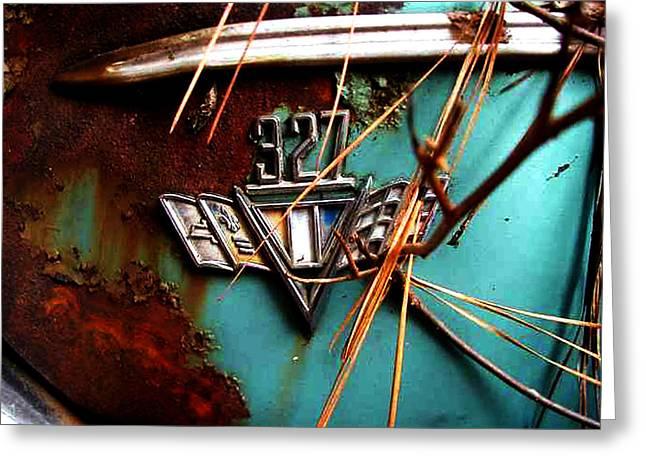 Junkyard Pyrography Greeting Cards - Old Car City 327 Greeting Card by Richard Erickson