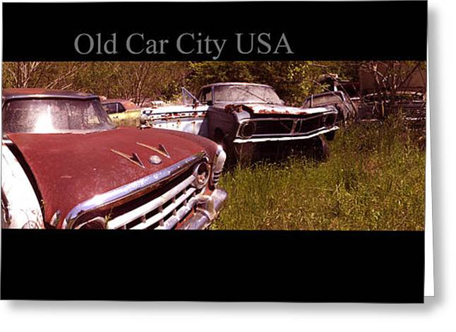Rusted Cars Greeting Cards - Old Car City USA Angle Pan Greeting Card by Richard Erickson