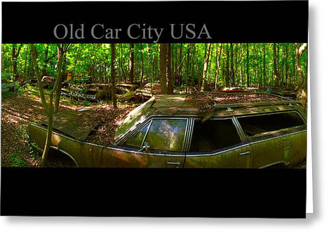 Rusted Cars Greeting Cards - Old Car City USA Bent Wagon Greeting Card by Richard Erickson