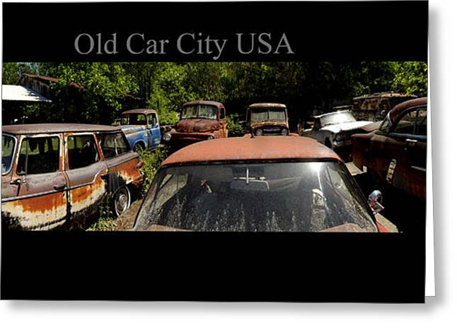 Rusted Cars Greeting Cards - Old Car City USA Pan Rear Lot Greeting Card by Richard Erickson