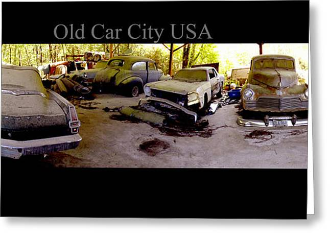 Rusted Cars Greeting Cards - Old Car City USA Rear Shed Greeting Card by Richard Erickson