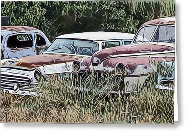 Rusted Cars Greeting Cards - Old Car Graveyard Greeting Card by Richard Farrington