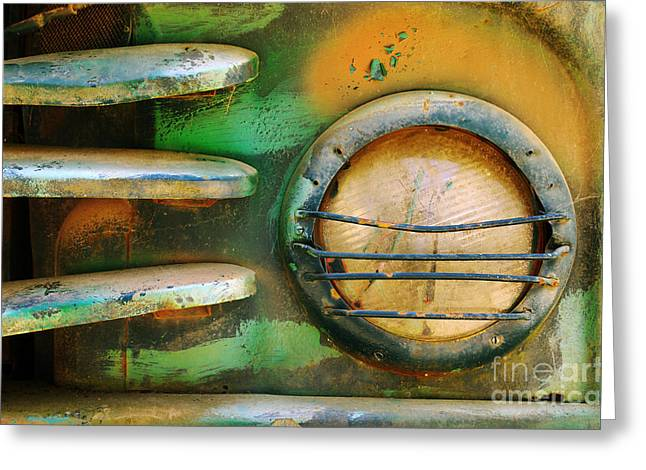 Rundown Greeting Cards - Old Car Headlight Greeting Card by Carlos Caetano