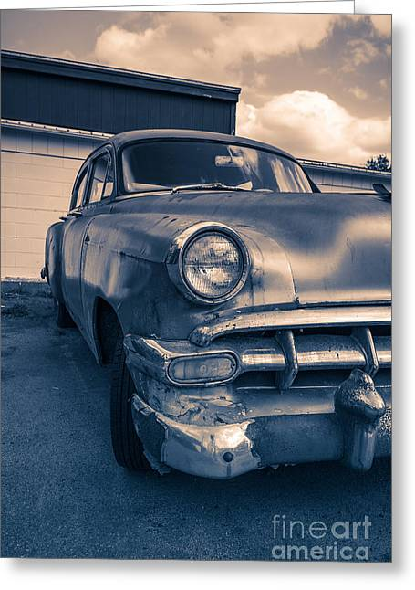 Yesterday Greeting Cards - Old car in front of garage Greeting Card by Edward Fielding