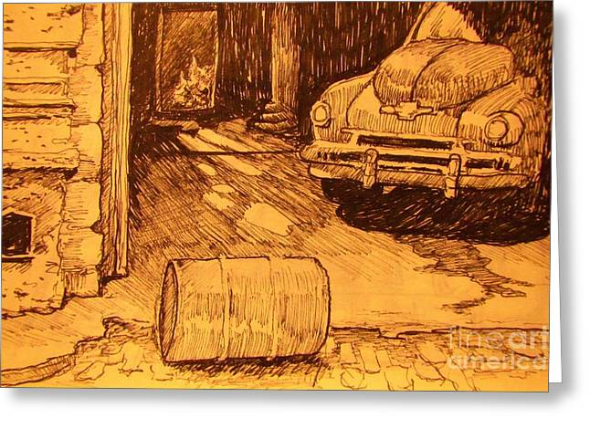 Rusted Cars Drawings Greeting Cards - Old Car in Garage Greeting Card by John Malone