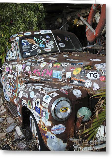Old Stamps Greeting Cards - Old Car in Junk Yard Greeting Card by Sophie Vigneault