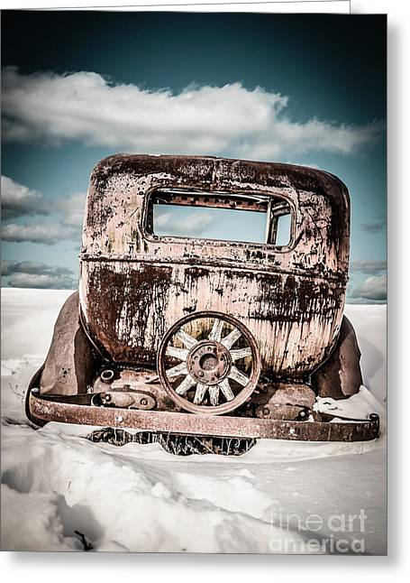 Junker Greeting Cards - Old car in the snow Greeting Card by Edward Fielding