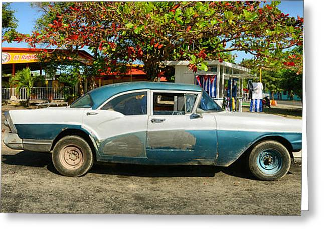 Matanzas Greeting Cards - Old Car In Varadero, Matanzas, Cuba Greeting Card by Panoramic Images