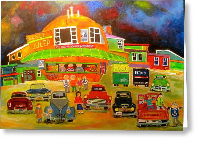 Orange Julep Greeting Cards - Old Car Meeting at the Orange Julep Greeting Card by Michael Litvack
