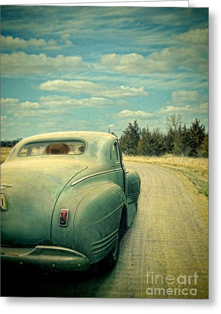 Old Country Roads Greeting Cards - Old Car on Dirt Road Greeting Card by Jill Battaglia