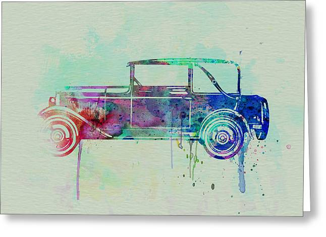 Automotive Drawings Greeting Cards - Old car watercolor Greeting Card by Naxart Studio